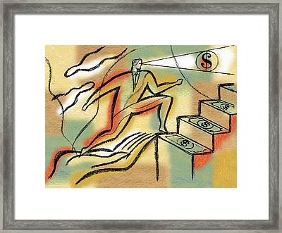 Framed Print featuring the painting Helping Hand And Money by Leon Zernitsky