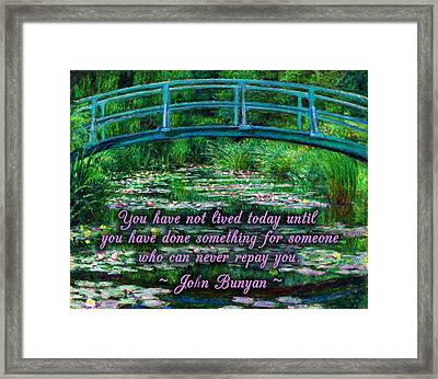 Helping Others Framed Print