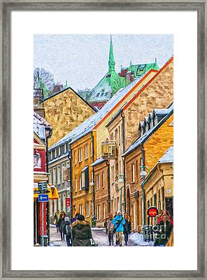 Helsingborg Narrow Street Painting Framed Print by Antony McAulay