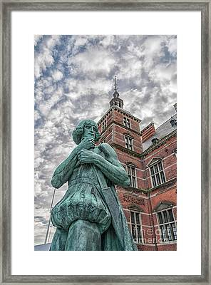 Framed Print featuring the photograph Helsingor Train Station Statue by Antony McAulay