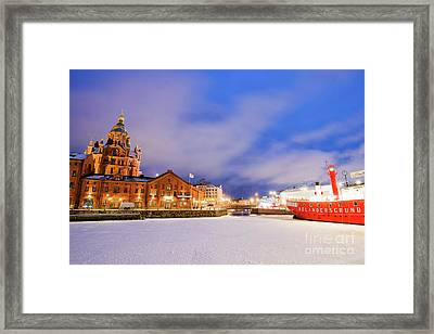 Helsinki By Night Framed Print by Delphimages Photo Creations