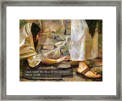 Hem Of His Garment And Text Framed Print