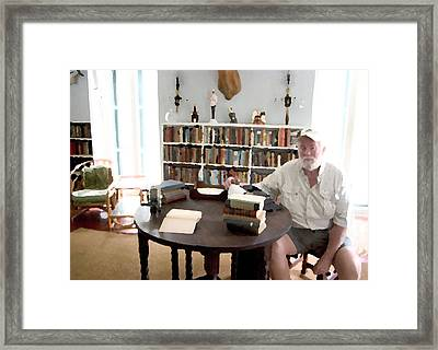 Hemingway At Work Framed Print by Carl Purcell