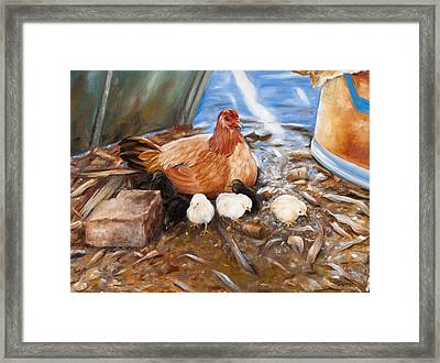 Framed Print featuring the painting Hen And Biddies by Rick McKinney