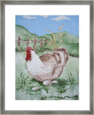 Hen And Eggs Framed Print