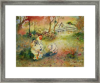 Hen And Rooster Framed Print