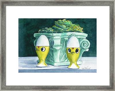 Hen Chicks And Eggs Framed Print