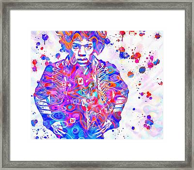Hendrix Paint Splatter Framed Print by Dan Sproul