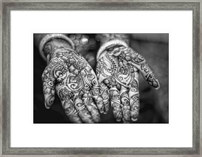 Henna Hands Black And White Framed Print