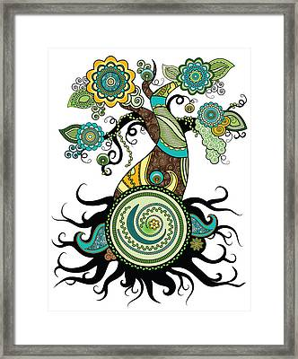 Henna Tree Of Life Framed Print by Serena King