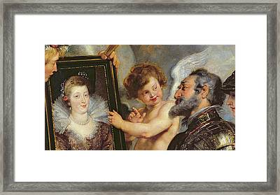 Henri Iv Receiving The Portrait Of Marie De Medici Framed Print by Rubens