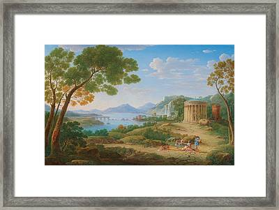 Henrik Frans Van Lint Antwerp 1684-1763 Rome A Classical Landscape With Figures Seated Before A Te Framed Print
