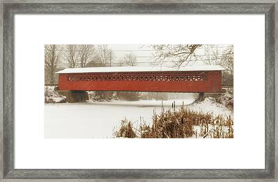 Henry Covered Bridge In Winter Framed Print