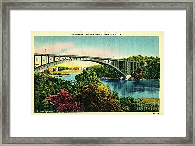 Henry Hudson Bridge Postcard Framed Print