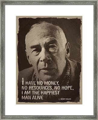 Henry Miller Quote Framed Print by Afterdarkness