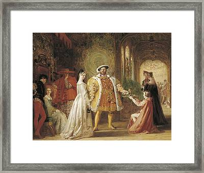 Henry Viiis First Interview With Anne Boleyn Framed Print by Daniel Maclise