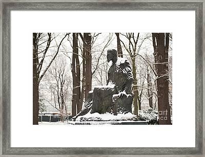 Henryk Sienkiewicz Statue In Winter Framed Print