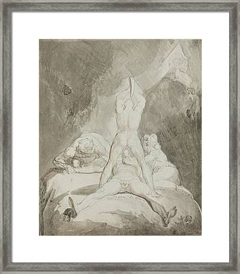 Hephaestus Bia And Crato Securing Prometheus On Mount Caucasus Framed Print by Henry Fuseli