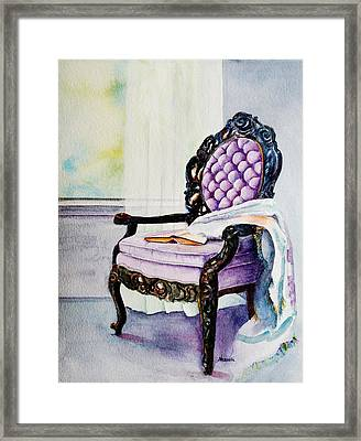 Her Chair Framed Print by Kathy Nesseth