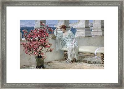 Her Eyes Are With Her Thoughts And They Are Far Away Framed Print by Sir Lawrence Alma-Tadema