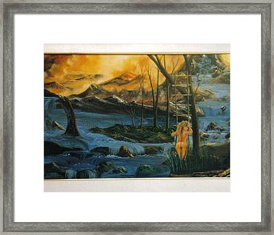 Her Ladder Framed Print by Benito Alonso