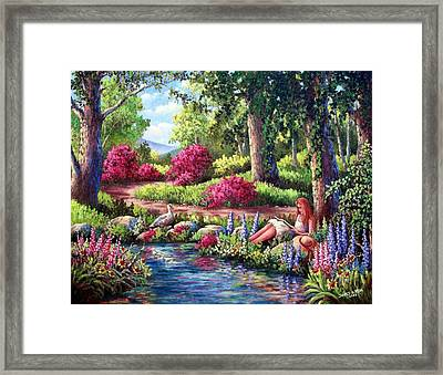 Her Reading Hideaway Framed Print by David G Paul
