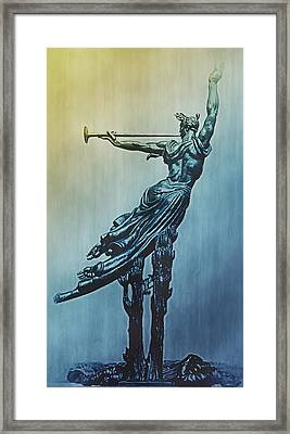 Heraldic Memorial Statue At Gettysburg Framed Print by Bill Cannon