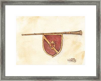 Heraldry Trumpet Framed Print by Ken Powers