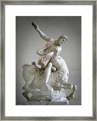 Hercules And Centaur Sculpture Framed Print by Artecco Fine Art Photography