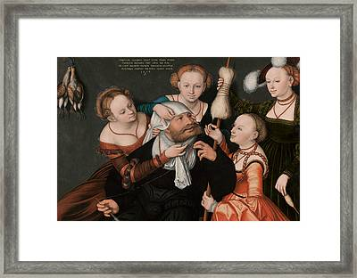 Hercules And Omphale Framed Print by Lucas Cranach the Elder