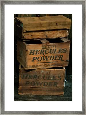 Framed Print featuring the photograph Hercules Dynamite Crates by Chris Flees