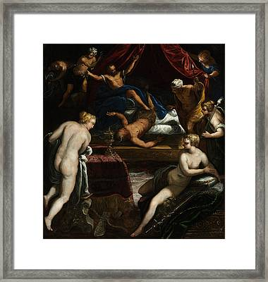 Hercules Expelling The Faun From Omphale's Bed Framed Print