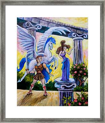 Hercules Pegasus And Meg Framed Print by Sebastian Pierre