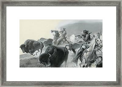 Herd Of Buffalo Framed Print