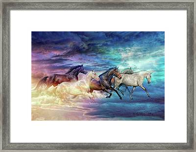 Herd Of Horses In Pastel Framed Print