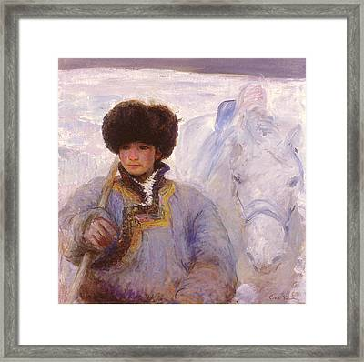 Herder And His Horse    Framed Print