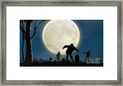 Here Comes The Zombies Framed Print