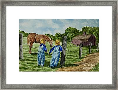 Here Horsey Horsey Framed Print by Charlotte Blanchard