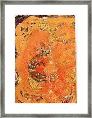 Here Is Kokopelli II  Framed Print by Anne-Elizabeth Whiteway