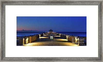 Framed Print featuring the photograph Here It Comes Now Folly Beach Pier Sunrise Art by Reid Callaway