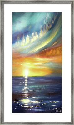 Here It Goes - Vertical Colorful Sunset Framed Print by Gina De Gorna