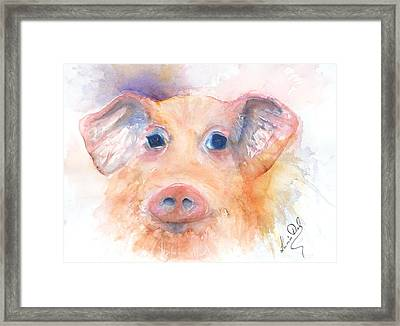 Here Piggy Framed Print by Lucia Del