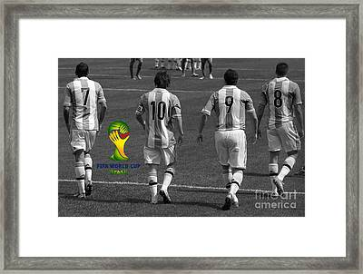 Here We Come Lionel Messi Fifa 2014 Black And White Framed Print by Lee Dos Santos
