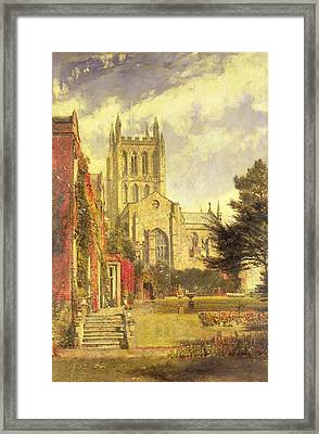 Hereford Cathedral Framed Print by John William Buxton Knight