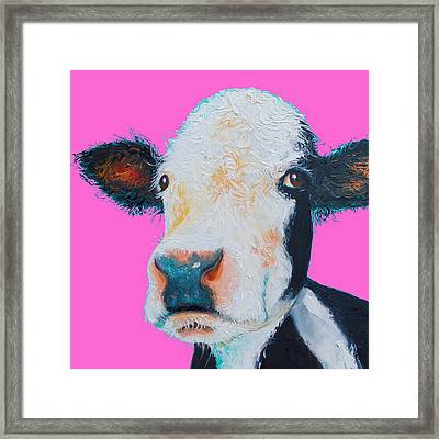 Hereford Cow On Hot Pink Framed Print