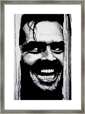 Heres Johnny Framed Print by Luis Ludzska