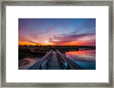 Framed Print featuring the photograph Heritage Boardwalk Twilight by Chris Bordeleau