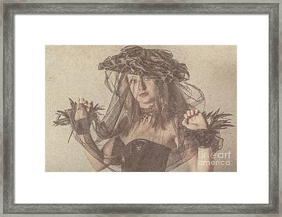 Heritage Fashion Girl Posing In Vintage Hat Framed Print by Jorgo Photography - Wall Art Gallery