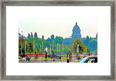 Framed Print featuring the photograph Heritage Park Fountain by Larry Keahey