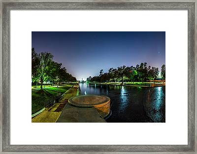 Hermann Park Reflecting Pool In Houston Texas Framed Print by Micah Goff